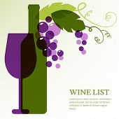 foto of alcoholic drinks  - Wine bottle glass branch of grape with leaves - JPG