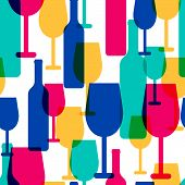 picture of alcoholic beverage  - Abstract colorful cocktail glass and wine bottle seamless pattern - JPG