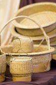 stock photo of handicrafts  - Sticky Rice Container and Wickerwork Natural Handicraft - JPG