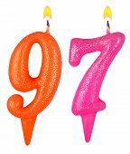 stock photo of number 7  - Birthday candles number ninety seven isolated on white background - JPG