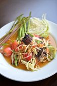 picture of green papaya salad  - Popular Thai spicy papaya salad or Somtam with fresh vegetable - JPG