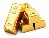pic of white gold  - Stack of shiny gold ingots bars or bullions isolated on white background - JPG