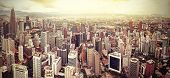 stock photo of malaysia  - Retro filtered skyline of Kuala Lumpur Malaysia - JPG