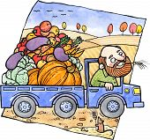 stock photo of truck farm  - Farmer carries vegetables and fruits in a truck - JPG