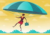stock photo of parachute  - Great illustration of Retro styled Businesswoman who - JPG