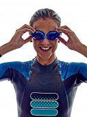 picture of triathlon  - woman triathlon ironman athlete  swimmers on white background - JPG