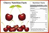 image of cherries  - Bunch of cherries with a nutritional fact label detailing nutrition information for 1 cup of cherries - JPG