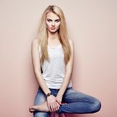 picture of blouse  - Fashion portrait of beautiful young woman with blond hair - JPG