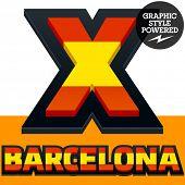 stock photo of x-files  - Vector set of Spain flag alphabet - JPG