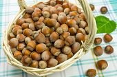 foto of cobnuts  - Hazelnuts in a wicker basket on the table - JPG