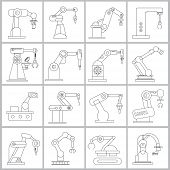 stock photo of heavy equipment operator  - set of 16 thin line industrial robot icons - JPG