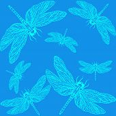 pic of dragonflies  - openwork pattern of a dragonfly on a blue background - JPG