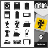picture of monochromatic  - Flat monochromatic icons of home appliances - JPG