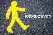 image of pedestrians  - Yellow pedestrian figure on the road walking towards PRODUCTIVITY - JPG
