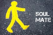 pic of mating  - Yellow pedestrian figure on the road walking towards SOUL MATE - JPG