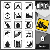 picture of monochromatic  - Camping related flat monochromatic icons - JPG