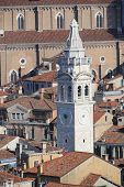 image of mary  - White bell tower of Church of St Mary in VENICE in Italy - JPG