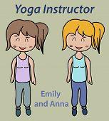 picture of yoga instructor  - Yoga instructor illustration sport stretch thin training - JPG
