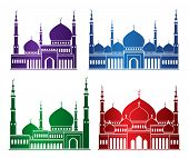 stock photo of ramadan mubarak  - Set of Colorful Mosque or Masjid Elements Isolated for Islamic Celebrations - JPG