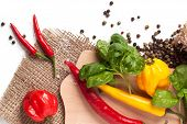 stock photo of yellow-pepper  - Red and yellow hot chili peppers with salt and fresh basil over white - JPG