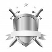stock photo of knights  - Coat of arms metal shield with two crossed knight swords and stars above isolated on white - JPG
