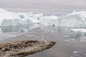 picture of arctic landscape  - Arctic landscape in Greenland around Disko Island and Ilulissat with icebergs - JPG