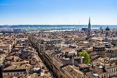 image of bordeaux  - Aerial view of the city of Bordeaux in france - JPG
