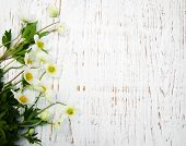 image of windflowers  - Border with Anemone flowers on a wooden background - JPG
