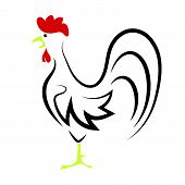 foto of rooster  - Cartoon Rooster Isolated on White Background for Your Design - JPG