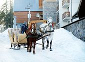 picture of wagon  - Wagon with horses over snow in wintertime - JPG
