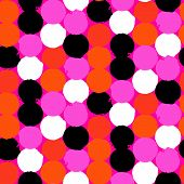 image of color spot black white  - Bold geometric pattern with randomly colored circles in bight orange - JPG