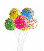 foto of cake pop  - Sweet cake pops isolated on white - JPG