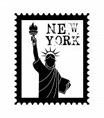 pic of statue liberty  - New york Stamp with liberty statue on white background - JPG