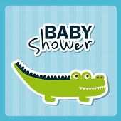 pic of crocodiles  - Baby shower Card with crocodile - JPG
