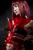 foto of woman dragon  - robot with red armor - JPG
