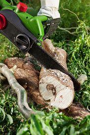stock photo of man chainsaw  - man  - JPG