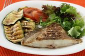 picture of flounder  - Grilled flounder with grilled vegetables and salad - JPG
