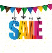 Sale Words With Colorful Confetti Or Bunting - Vector Graphic Icon. poster