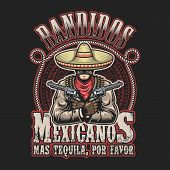 Vector illustrtion of mexican bandit print template poster