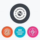 Постер, плакат: No smoking day icons Against cigarettes