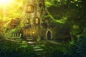Fantasy tree house in deep forest poster