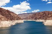 stock photo of upstream  - Decreased water level in Black Canyon of Colorado river near Hoover Dam upstream view - JPG