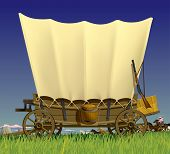 Raster version of vector illustration with a Wild West covered wagon in prairie against the backgrou