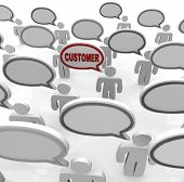 Many people speak with speech bubbles that are blank and one with the word Customer in it, represent