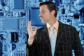 salesperson man from electronics business with hand ok gesture hand