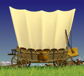 foto of wagon  - Raster version of vector illustration with a Wild West covered wagon in prairie against the background of a flock of horses - JPG