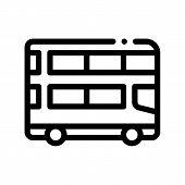 Public Transport Double-decker Bus Icon Sign Thin Line. Double-decker Motor-bus, Urban Passenger Tra poster