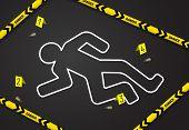 Crime Scene, Do Not Cross Police Tape. Chalk Outline From The Murder poster