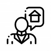 Character Man Thinking Dream Buy House Vector Icon Thin Line. Businessman Dreaming Want Sale Or Rent poster