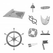 Vector Design Of Nautical And Voyage Sign. Set Of Nautical And Seafaring Vector Icon For Stock. poster